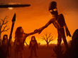 canvas print picture - painting of an alien astronaut meeting prehistoric man