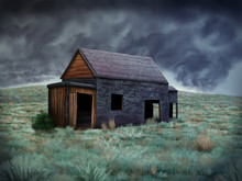 Digital Painting Of An Old Abandoned Shack Under A Stormy Sky