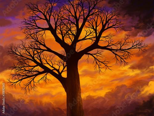digital painting of an old tree on a dusky sky