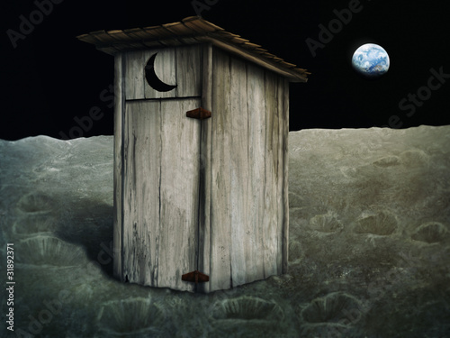 digital painting of an outhouse on the moon