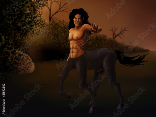 digital painting of a centaur standing near a hedgerow