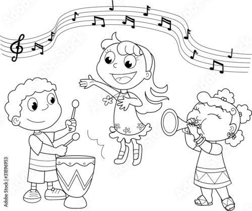 Fotografie, Obraz  Gruppo musicale di bambini che cantano e suonano