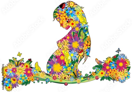 Foto op Canvas Bloemen vrouw Mamma-Donna Incinta Fiori-Mother's Day Flowers-Vector