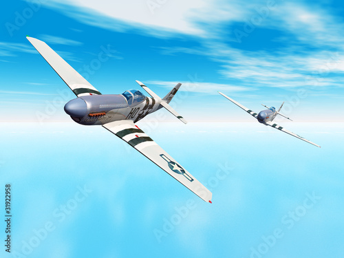Photographie Amerikanische Jagdflugzeuge