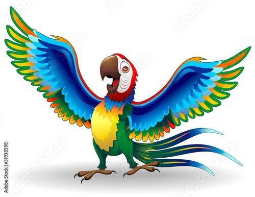 Poster Draw Pappagallo Ara Cartoon-Funny Macaw Parrot-Vector