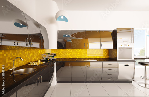 Moderne Kuche Interior Design 3d Render Buy This Stock Photo And