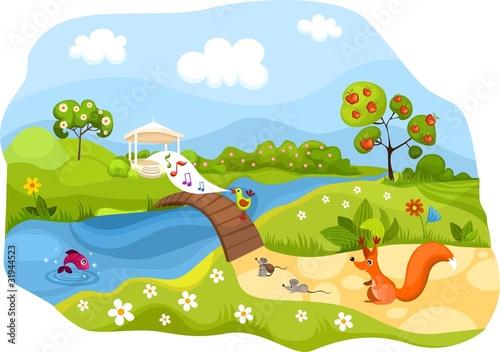 Canvas Prints River, lake spring card