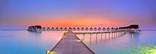 Maldives Bungalows Sunset Pano...