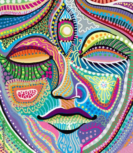 streszczenie-twarz-kobiety-z-wielobarwny-wzor-indyjski