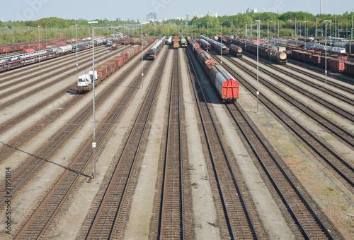 Fotografie, Obraz  Railroad Yard with New Automobiles
