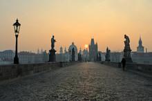 Sunrise In Prague, View From The Charles Bridge
