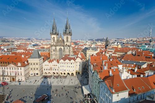 Staande foto Praag Old Town Square (Staromestske Namesti),birds eyes view, Prague