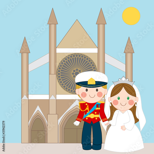 Poster Castle Prince and Princess in front of church after wedding