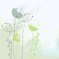Naklejkaabstract background with dandelions