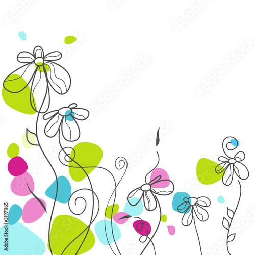 Deurstickers Abstract bloemen Floral greeting card