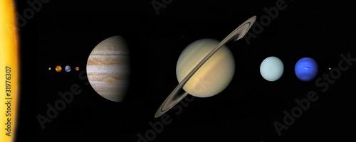 Fototapeta Solar system to scale