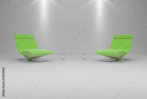 Fototapeta Interno vuoto con poltrone verdi