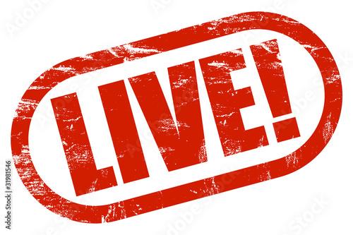 Fotografie, Obraz  Grunge Stempel rot LIVE!