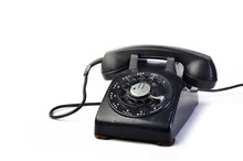 Vintage Black Telephone On Whi...