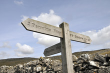 Signpost For Pennine Way Near Malham In Yorkshire Dales