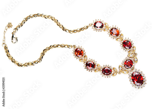 Leinwand Poster gold necklace with gems isolated