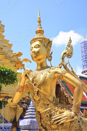 Foto op Canvas Boeddha A Golden Kinnari statue at Wat Phra Kaew , Bangkok, Thailand