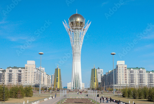 Baiterek and the center of Astana city Canvas Print