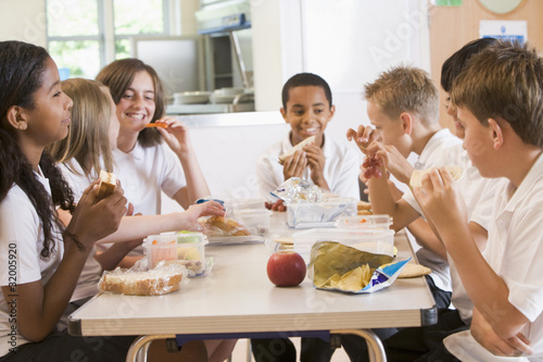 Fotografie, Obraz  Schoolchildren enjoying their lunch in a school cafeteria