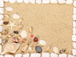 Sea shells and stones frame on sand