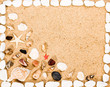Sea shells and stones frame on sand