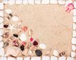 Sea shells and stones frame on sand .
