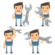 set of funny cartoon mechanic