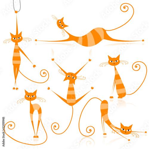 Staande foto Kinderkamer Graceful orange striped cats for your design