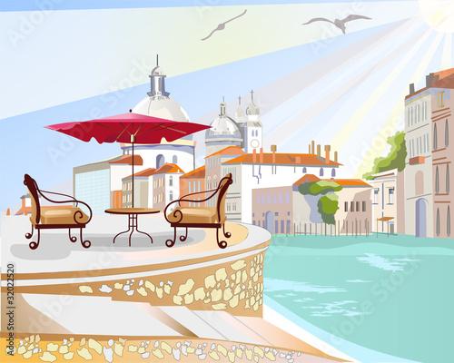 Foto auf AluDibond Gezeichnet Straßenkaffee Street cafe in Italy