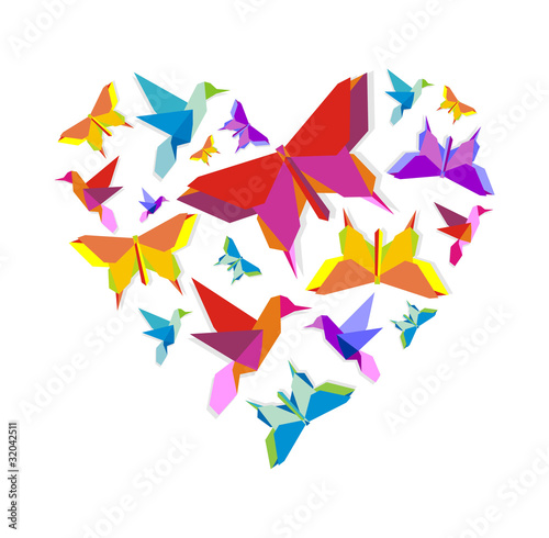 Door stickers Geometric animals Spring Origami bird love