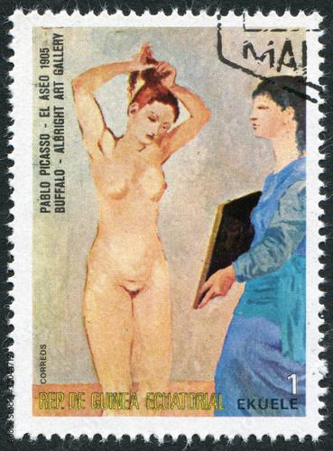 """Fotografía  Postage stamp Equatorial Guinea 1975: """"El Aseo"""""""