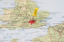 Push Pin Pointing At London, England On A Map