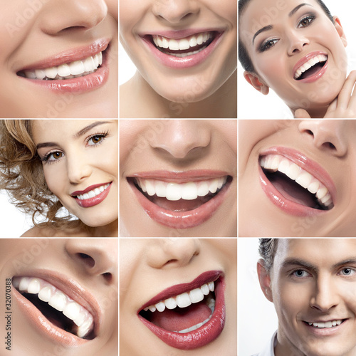 Fotografie, Obraz  teeth and smiles collage