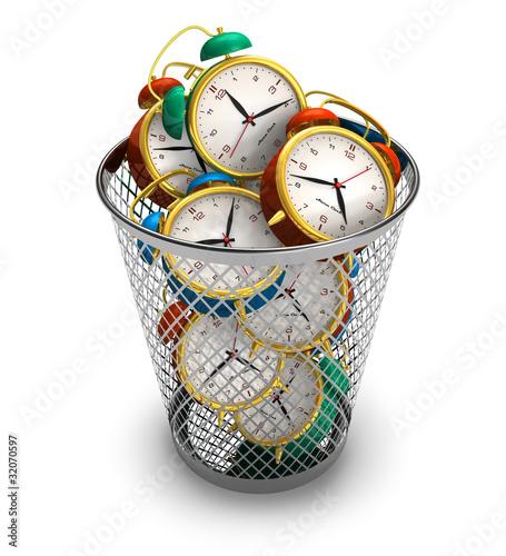 Fotografia, Obraz  Wasting time concept: alarm clocks in the trash bin