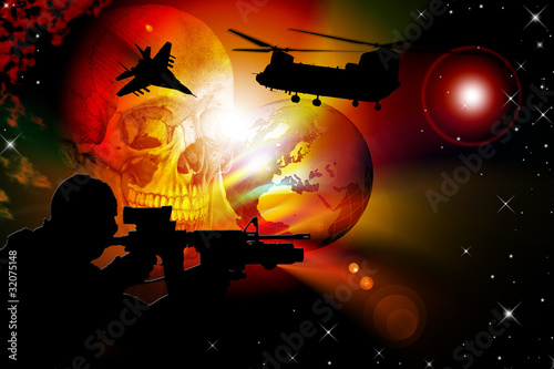 Poster Militaire Illustration of world war