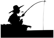 Boy Fishing Rod Silhouette Free Stock Photo Public Domain Pictures