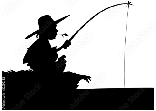 Photo Silhouette of boy fishing