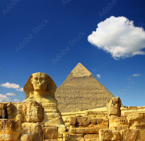 Tuinposter Egypte egypt Cheops pyramid and sphinx