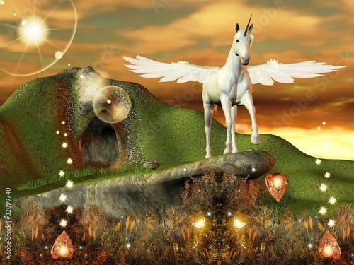 La pose en embrasure Fées, elfes Fantastico pegaso in un mondo magico