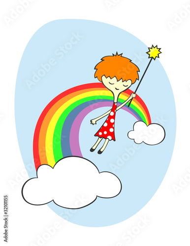 Deurstickers Regenboog Fairy over the rainbow