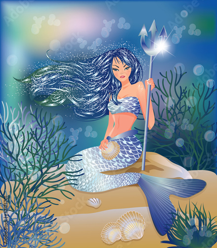 Poster Mermaid Beautiful Mermaid with Trident and seashell, vector