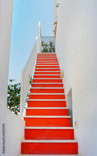 Beautiful empty staircase in Santorini