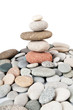 Stack of pebbles isolated on the white