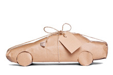 Car Wrapped In Brown Paper Cut...