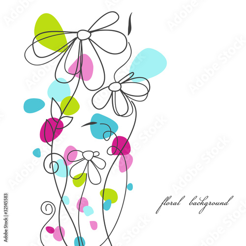 Poster Abstract bloemen Cute floral background